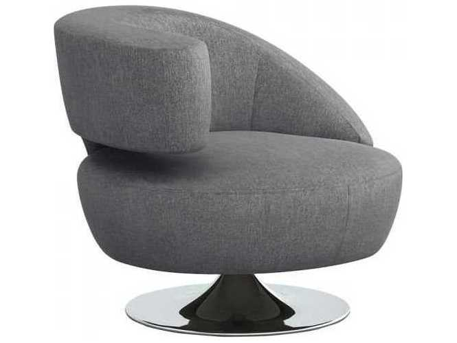Interlude Home Night / Polished Nickel Swivel Accent Chair .