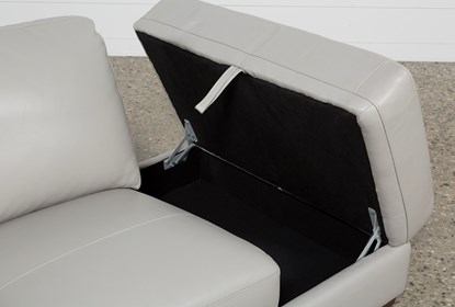 Nico Light Grey Leather Sectional With Right Arm Facing Armless .