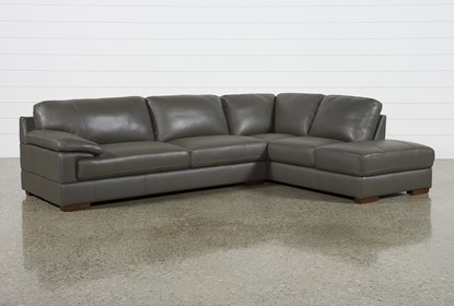 Nico Dark Grey Leather Sectional With Right Arm Facing Armless .