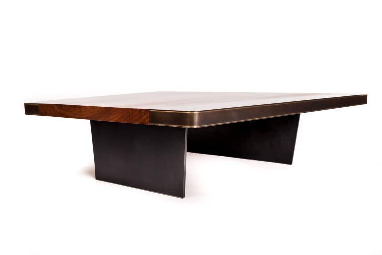 Nola Cocktail Table, Customizable Wood, Metal and Resin For Sale .
