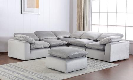 Velvet Modular Grey 5-Piece Sectional Sofa | The Dump Luxe .