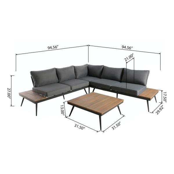 Noble House Norfolk 4-Piece Natural Brown Wood and Gray Aluminum .