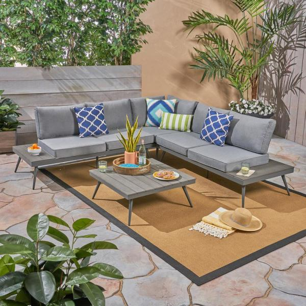 Noble House Norfolk Gray 4-Piece Wood and Aluminum Patio Sectional .