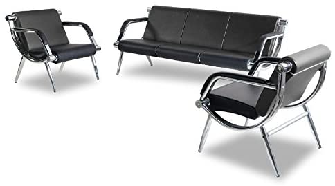 Amazon.com : BORELAX 3PCS Office Reception Chair Set Black PU .