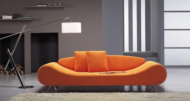 Contemporary Orange Harmony Sofa with Unique Shape | Modern sofa .