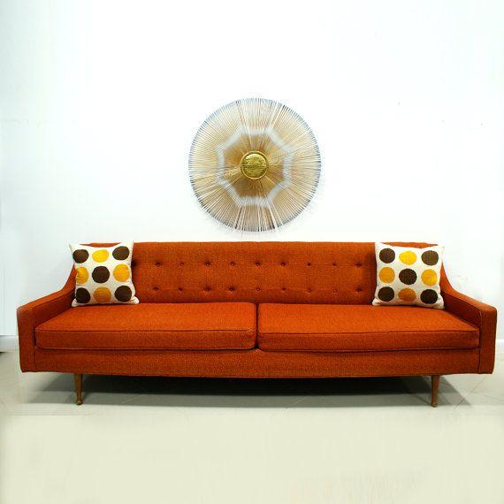 Orange Sofa Mid Century Modern Free Shipping by TheModernHistoric .