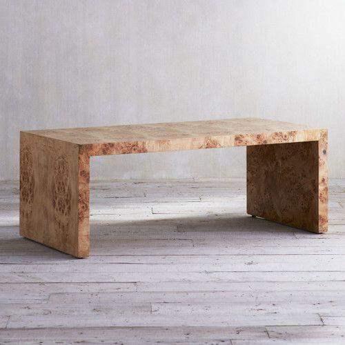Oslo Burl Wood Veneer Coffee Table - Organic Natural Table .