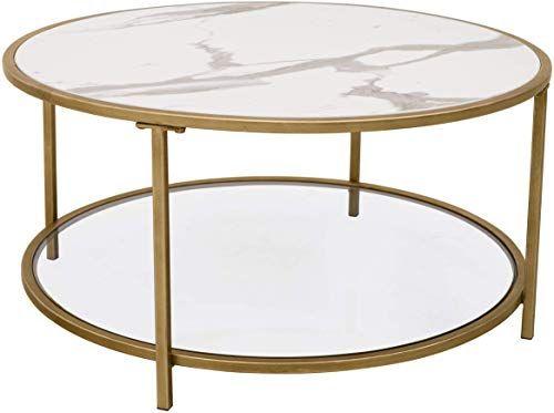 Buy Ravenna Home Parker Round Shelf Storage Coffee Table, 31.5 W .