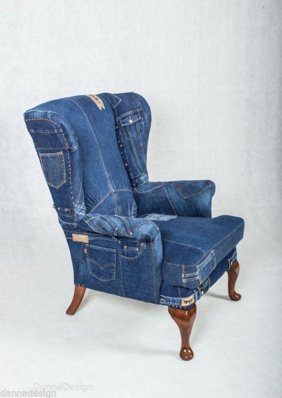 Details about Denim Jeans Wingback Armchair Parker Knoll sofa .