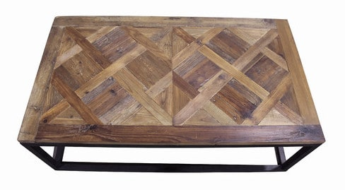 Parquet Wood & Metal Coffee Tables - Shine Your Lig