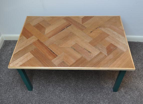 Unique Reclaimed Wood Coffee Table Parquet Style Top | Et