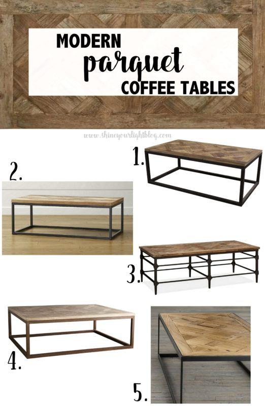 Parquet Wood & Metal Coffee Tables | Coffee table wood, Wood coffe .