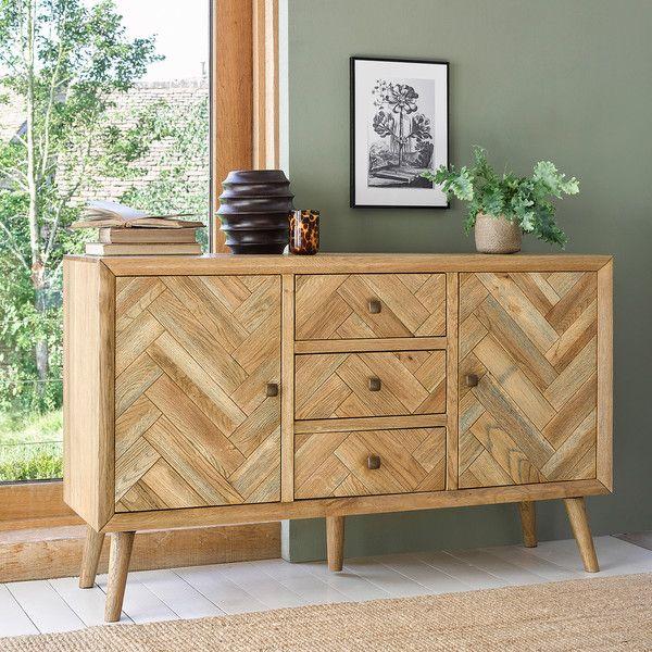 Brushed and Glazed Solid Oak Sideboards - Large Sideboard .