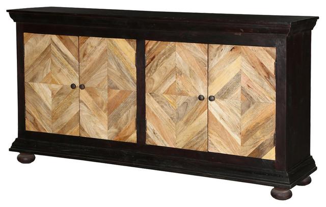 Hitchin Parquet Mango Wood Diamond Door Large Buffet Cabinet .