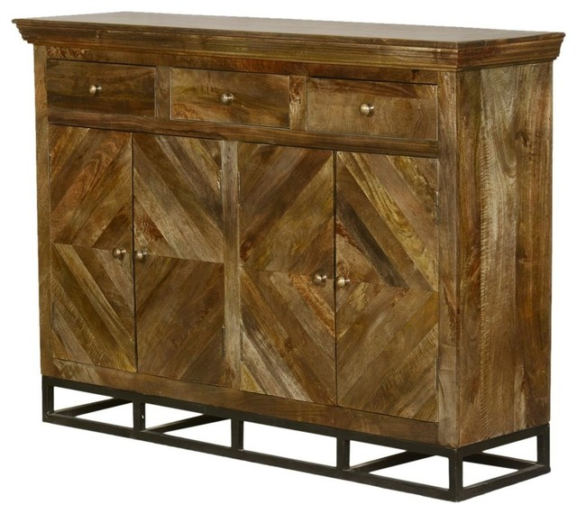 Parquet Diamond Mango Wood 3 Drawer Tall Sideboard Cabinet .