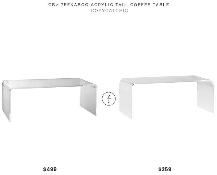 CB2 Peekaboo Acrylic Tall Coffee Table $499 vs Houzz Phantom .