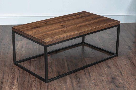 Solid Wood & Metal Coffee Table, Industrial, Rustic, Square Tube .