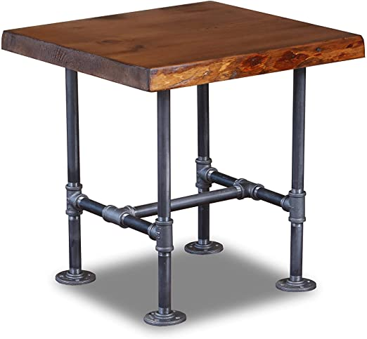 Amazon.com: Industrial Pipe and Wood End Table Live Edge Rustic .