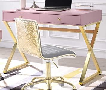Amazon.com: ACME Coleen Desk - - Pink & Gold: Kitchen & Dini