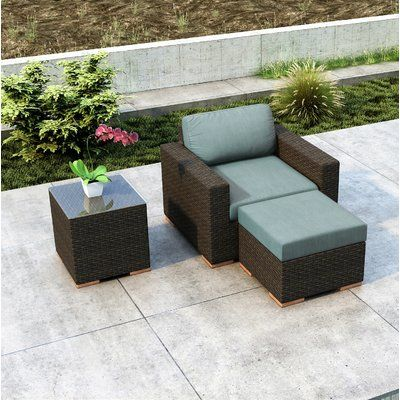 Everly Quinn Glen Ellyn 3 Piece Patio Chair with Sunbrella Cushion .