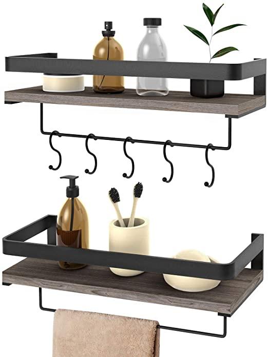 Amazon.com: Floating Shelves Wall Mounted 2 Set, Bathroom Shelf .