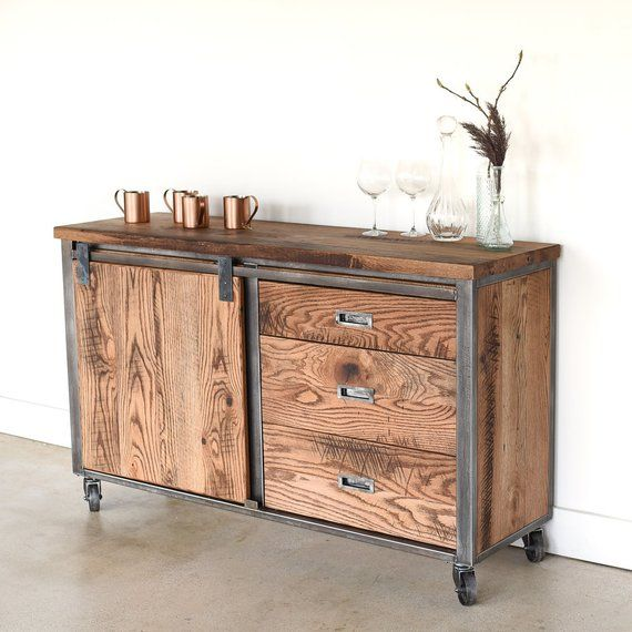 Industrial Sideboard made from Reclaimed Wood / Bar Cart / Storage .