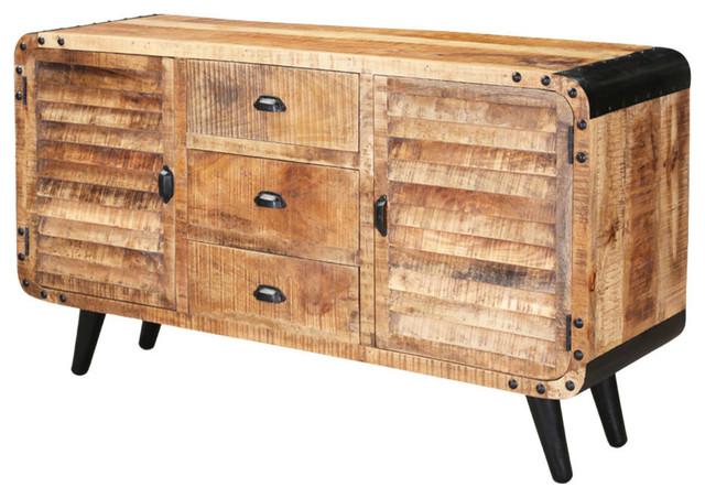 Castine Retro Rustic Mango Wood 3 Drawer Industrial Sideboard .