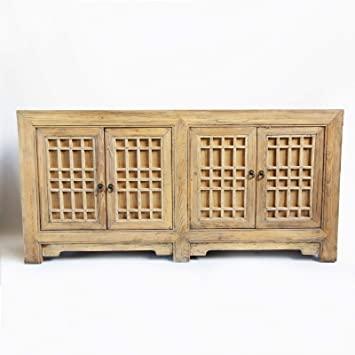 Amazon.com - Design MIX Furniture Raw Elm Lattice Sideboard with .