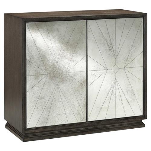 Sonny Modern 6-Shelf Dove Grey Oak Antique Mirror Door Sideboard .