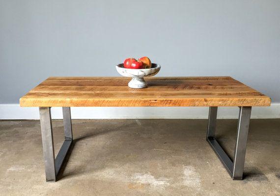 Reclaimed Wood Coffee Table / Industrial U-Shaped Metal Legs .