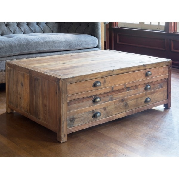 Map Drawer Collection: Old Pine Coffee Table, Reclaimed Wo