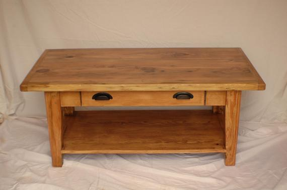 Reclaimed Heart Pine Coffee Table with Drawer and Shelf | Et