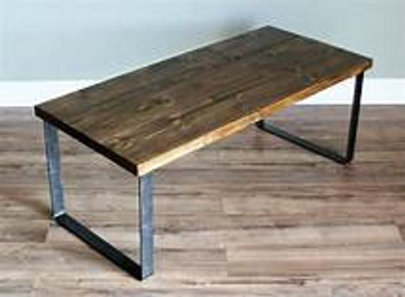 Natural Solid Reclaimed Pine Wood Coffee Table With Raw Steel | Et