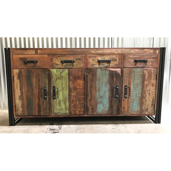 Breakwater Bay Valeria Old Reclaimed Wood and Iron 4 Door 4 Drawer .