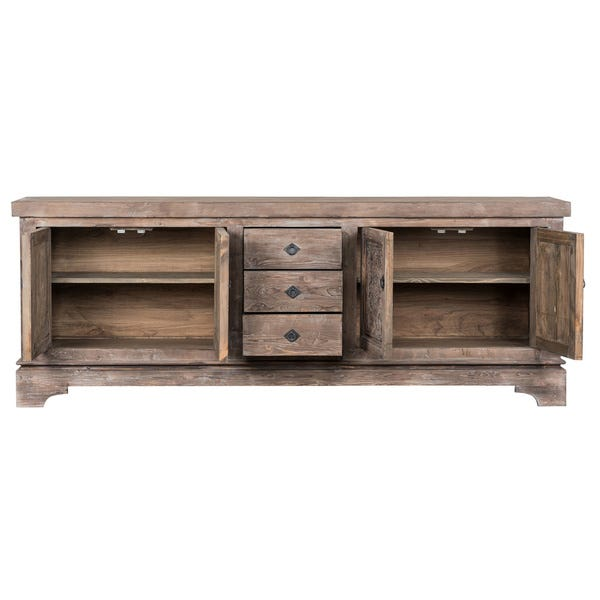 Shop Allen Reclaimed Pine 3-Drawer, 4-Door Sideboard by Kosas Home .