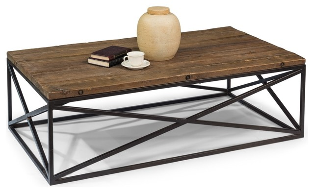 "55"" Ambrogino Board Coffee Table Reclaimed Solid Pine Wood Iron ."
