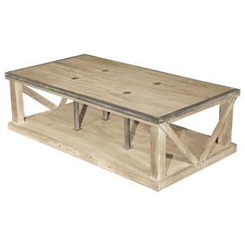 Forte French Country White Wash Reclaimed Pine Iron Coffee Table .