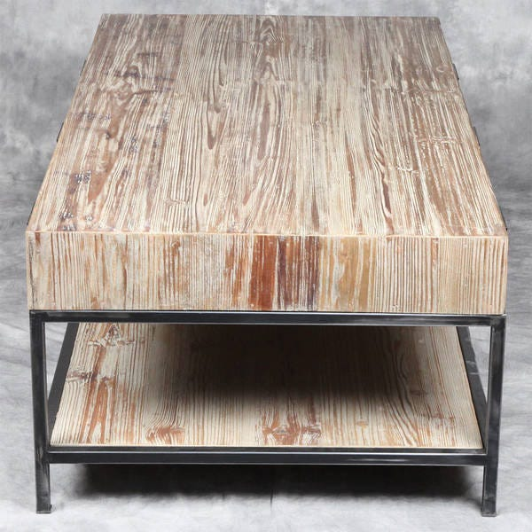 Shop Reclaimed Pine Wood and Iron Coffee Table - Overstock - 110810