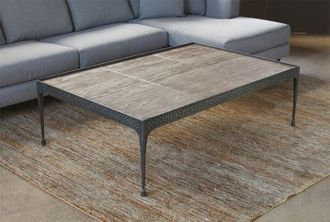 Hammered Iron Coffee Table with Reclaimed Pine Ba