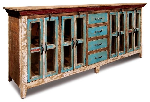 Rustic Distressed Reclaimed Solid Wood Sideboard, Curio Cabinet .