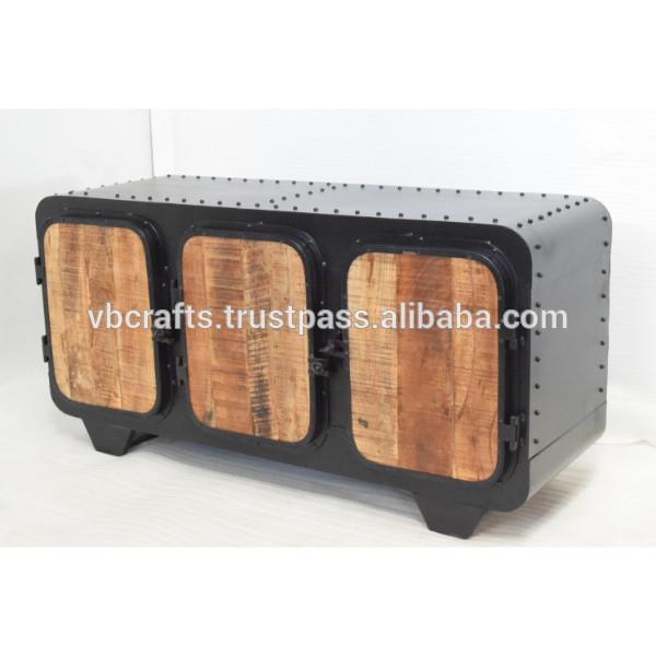 Mango Rough Wood Panel Metal Riveted Industrial Sideboard - Buy .
