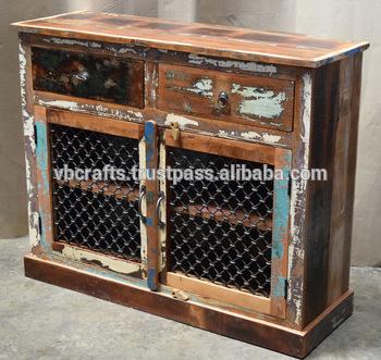Recycled Wooden Sideboard Iron Jali Panel - Buy Ethnic Indian .