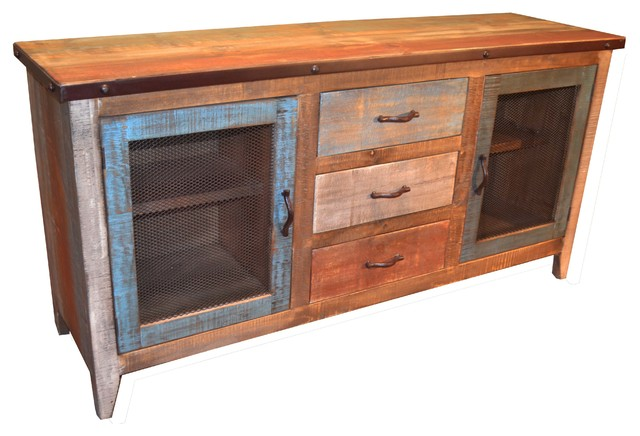 Reclaimed Wood Sideboard With Metal-Door Panels and 3 Drawers .