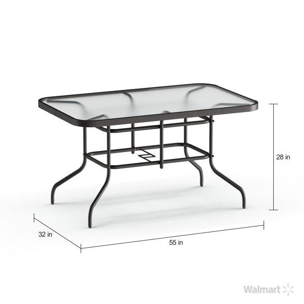 "Flash Furniture 31.5"" x 55"" Rectangular Tempered Glass Metal Table ."