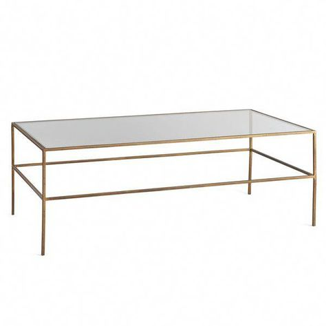 Rectangular Brass Finish and Glass Coffee Table | Wisteria .