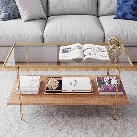 Amazon.com: Nathan James Asher Mid-Century Rectangle Coffee Table .