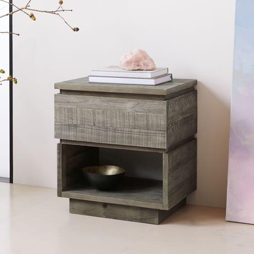 Emmerson® Modern Reclaimed Wood Nightstand - Stone Gr