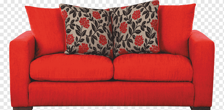 Red fabric 2-seat sofa, Couch Table Chair, Red Sofa, angle .