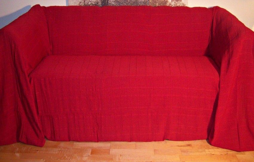 100% Cotton Red Giant Size 3 Seater Sofa Throw 250 x280 cms .