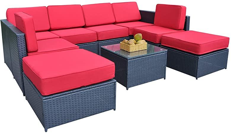 Amazon.com : MCombo Patio Black Wicker Sofa Sectional Rattan Sofa .